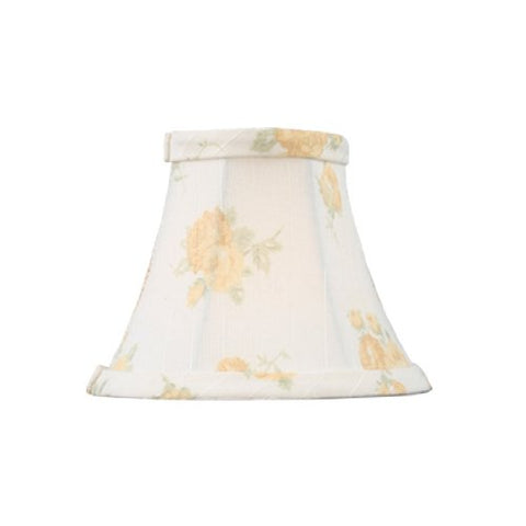 "Livex Lighting S324 Bell Clip Chandelier Shade, 5"" x 4"", White with Peach Floral Print Silk - llightsdaddy - Livex Lighting - Lamp Shades"