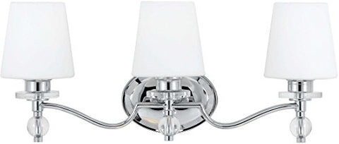 "Quoizel HS8603C Hollister Vanity Bath Lighting, 3-Light, 300 Watts, Polished Chrome (10"" H x 23"" W)"