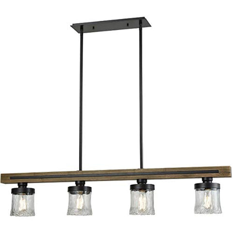 "Island Lighting 4 Light Fixtures with Oil Rubbed Bronze Finish Wood/Metal/Glass Material Medium Bulb 50"" - llightsdaddy - World of Lamp - Island Lights"