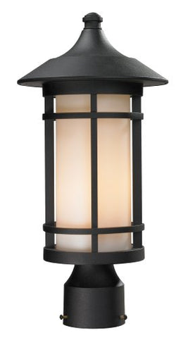 Z-Lite 527PHM-BK Outdoor Post Light, Glass Matte Opal Shade