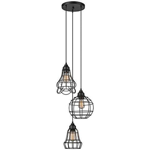 Globe Electric Jorah 3-Light Cage Cluster Pendant, Oil Rubbed Bronze Finish, 3X Medium Base 60W Bulbs (Sold Separately), 65624 - llightsdaddy - Globe Electric - Pendant Lights