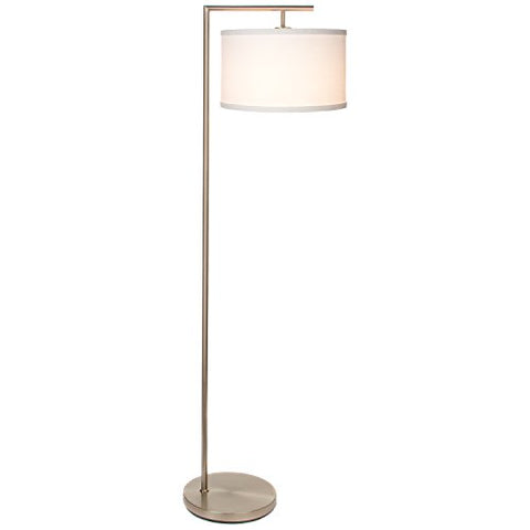 "Brightech Montage Modern Led Floor Lamp - Living Room Standing Pole Light With Hanging Drum Shade - Tall Downlight For Bedrooms, Family Rooms, Offices €"" With Led Bulb - Satin Nickel - llightsdaddy - Brightech - Floor Lamps"