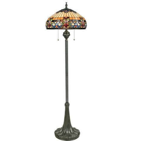 Quoizel TFBF9362VB 3-Light Belle Fleur Floor Lamp in Vintage Bronze - llightsdaddy - Quoizel - Lamp Shades