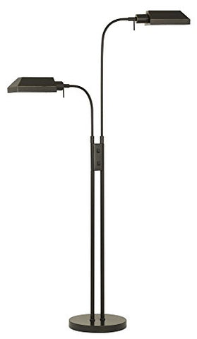 Cal BO-127FL-2L-DB Pharmacy - Two Light Floor Lamp, Dark Bronze Finish with Metal Shade - llightsdaddy - Cal - Lamp Shades