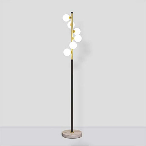 Hsyile Lighting KU300205 White Glass Shade and Marble Base Elegant Modern Creative Floor Lamp for Living Room,Bedroom,Office,6 Lights - llightsdaddy - Hsyile - Lamp Shades