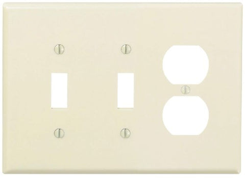Leviton PJ21-T 3-Gang, Midway Size Wallplate, Combination Device, 2 Toggle/1 Duplex outlet opening, High Impact Thermoplastic, Device Mount - llightsdaddy - Leviton - Wall Plates