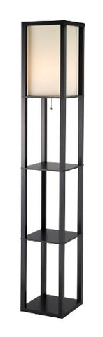 Adesso Titan Floor Lamp - 6 Feet Tall, 2 Shelve Storage, MDF Made, Black Finish, Poly Cotton Shade, Scratch Proof Lighting Fixture. Lamps and Shades