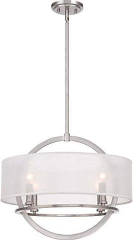 "Quoizel PTD2820BN Portland White Organza Pendant Ceiling Lighting, 4-Light, 240 Watts, Brushed Nickel (17""H x 20""W)"