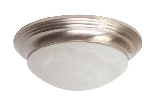 "ROYAL COVE GIDDS-563116 Flush Mount Ceiling Fixture, Brushed Nickel, 14 x 5"", Uses (2) 60-Watt Incandescent Medium Base Lamps"