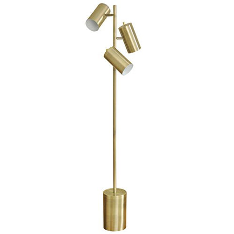 GwG Outlet 3 Head Metal Task Floor Lamp in Antique Brass Finish - llightsdaddy - GwG Outlet - Lamp Shades