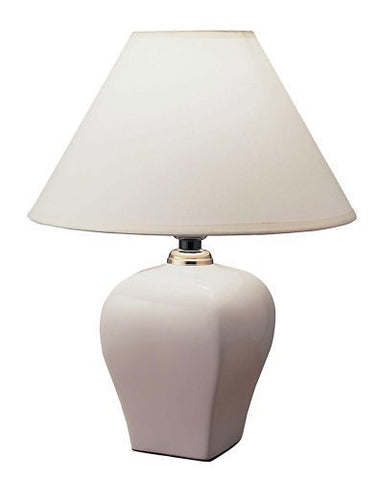 "S.H. International Ceramic Table Lamp 15""H with Linen Shade - Ivory"