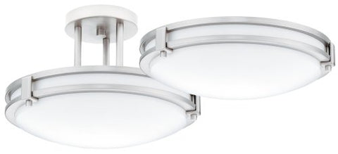 Lithonia 11750 BN M4 Saturn Round 2-Light Energy Star 13-Inch Semi Flush Light, Brushed Nickel