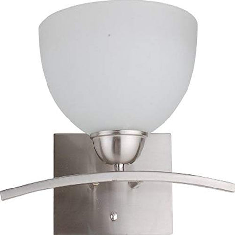 Whitfield WL107-1AWSS Mickayla 12-Inch One-Light Wall Sconce, Satin Steel with Acid Wash Glass