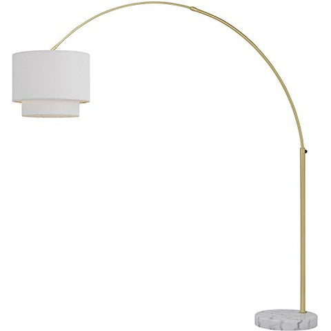 AF Lighting 9125-FL Arched Lamp Fabric Shade, Floor, Brushed Gold