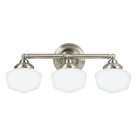 Sea Gull Lighting 44438-962 Academy Three-Light Bath or Wall Light Fixture with Satin White Glass, Brushed Nickel Finish - llightsdaddy - Sea Gull Lighting - Vanity Lights