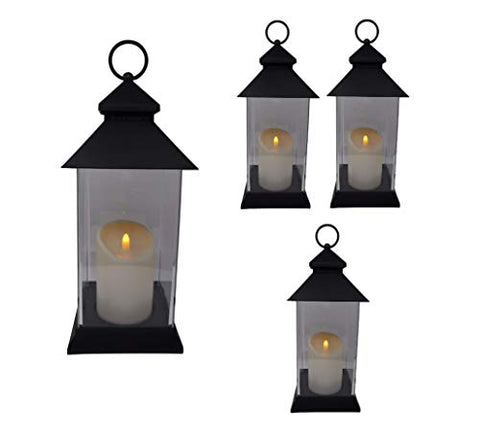 "Just In Time for Spring {4 Pc Set} 12.5"" Decorative Lanterns With Flameless LED Lighted Candle - 5 Hr Timer Modern Look Indoor Outdoor for Home, Garden, Patio, Party Lights, Weddings - Black - llightsdaddy - The Nifty Nook - Flameless Candles"