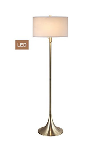 "Artiva USA LED051302FAB Florenza 61"" 2-Light LED Floor Lamp with Dimmer, 63 H x 18W x 18 L, Antique Satin Brass"