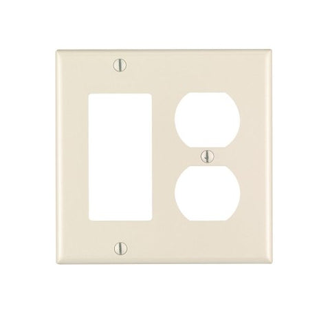 Leviton 80455-T 2-Gang 1-Duplex 1-Decora/GFCI Device Combination Wallplate, Standard Size, Thermoset, Device Mount, Light Almond - llightsdaddy - Leviton - Wall Plates