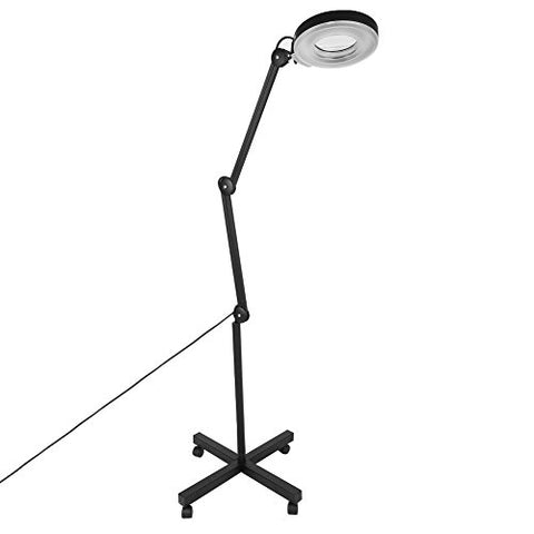 Magnifier Lamp, 5X Magnifying 110V LED Adjustable Swivel Arm Rolling Stand Clamp Floor Lamp for Beauty Cosmetic Tattoo Salon (Black, Floor)
