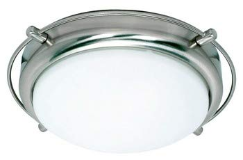 2 Light - 14 in. Flush Mount - Satin Frosted Glass Shades