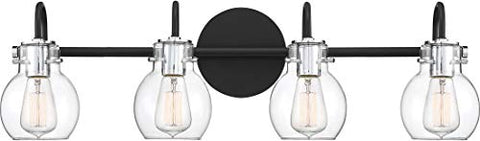 "Quoizel ANW8604EK Andrews Vanity Bath Lighting, 4-Light, 400 Watts, Earth Black (9""H x 31""W)"
