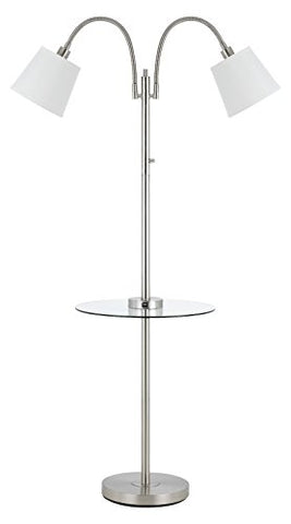 40W 3 Way Gail Metal Double Gooseneck Floor Lamp with Glass Tray Table and Two U - llightsdaddy - Cal - Floor Lamps