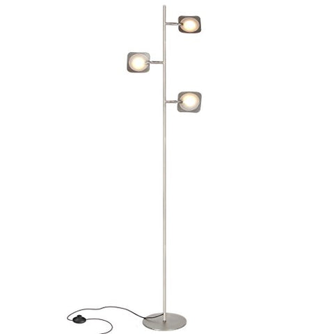 Brightech Tree Spotlight LED Floor Lamp - Very Bright Reading, Craft and Makeup 3 Light Standing Pole - Modern Dimmable & Adjustable Panels - Corner Lamp - Satin Nickel