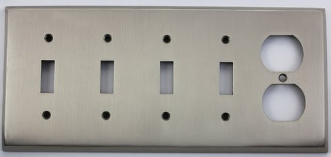 Satin Nickel 5 Gang Wall Plate 4 Toggle Switch 1 Duplex Outlet - llightsdaddy - Classic Accents - Wall Plates