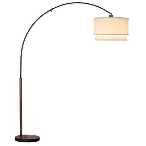Brightech Mason LED Arc Floor Lamp with Marble Base - Living Room Pole Lighting - Modern, Tall Standing Hanging Light Fits Behind The Couch Or in A Corner - Bronze - llightsdaddy - Brightech - Lamp Shades