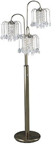 "SH LIGHTING Bronze Three-Head Hanging Chandelier Style Crystal Inspired Floor Lamp 63""H (6866AB) - llightsdaddy - SH Lighting - Lamp Shades"