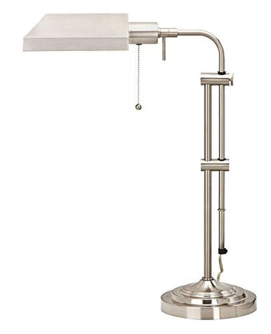 "Cal 26"" Height Metal Table Lamp in Brushed Steel 60W/Brushed Steel/Metal/Rectangular/Brushed Steel/Pharmacy"