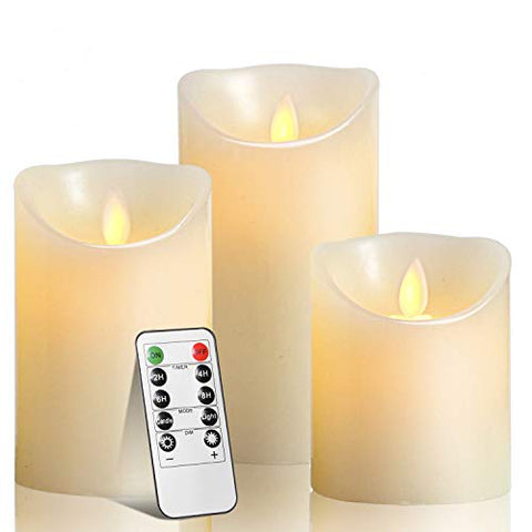 "TEECOO LED Candles, Flickering Battery Candles ╬Ž3.15 x H 4"" 5"" 6"" Set of 3 Real Wax Pillar Not Plastic Flameless Candles with 10-Key Remote Control Timer 300+ Hours (3X1, Ivory) - llightsdaddy - JHT - Flameless Candles"