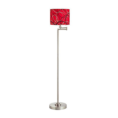 Swing Arm Floor Lamp with Red/Grey Patterned Drum Lamp Shade - llightsdaddy - Design Classics - Lamp Shades