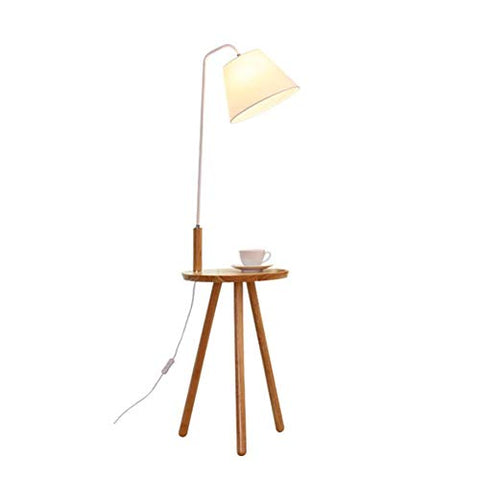 YL-Light Tripod Floor Lamp, Natural Wood Legs Floor Standing Lamp Satin Nickel Finish White Fabric Shade, Mid Century Contemporary Modern Style,White - llightsdaddy - YL-Light - Lamp Shades