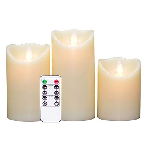 "DRomance Moving Wick Flameless Candles Battery Operated with Remote and Timer, Set of 3 Real Wax Smooth LED Flickering Candles Warm Light Christmas Decoration(Ivory, 3""D x 4""-6""H) - llightsdaddy - DRomance - Flameless Candles"