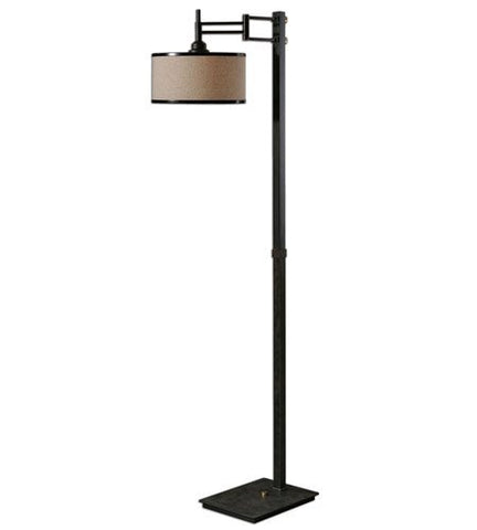 Floor Lamps 1 Light With Brushed Coffee Bronze Finish Metal Fabric Material 65 inch 150 Watts - llightsdaddy - Uttermost - Lamp Shades