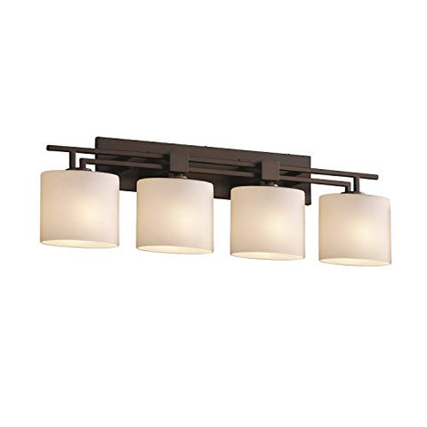 justice design group fusion 4-light bath bar - dark bronze finish with opal artisan glass shade