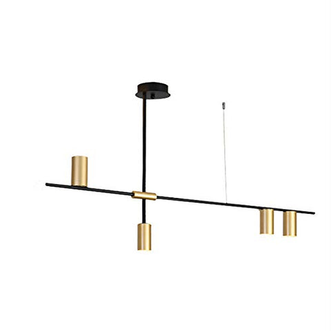 BOKT Contemporary Minimalist 4-Light Kitchen Island Pendant, Matte Black with Antique Brass Lampshade Finish, Geometric Modern Linear Chandelier Lighting Fixture with Led Bulbs - llightsdaddy - BOKT - Island Lights