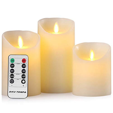 "Aku Tonpa Flameless Candles Battery Operated Pillar Real Wax Flickering Moving Wick Electric LED Candle Sets with Remote Control Cycling 24 Hours Timer, 4"" 5"" 6"" Pack of 3 - llightsdaddy - Aku Tonpa - Flameless Candles"