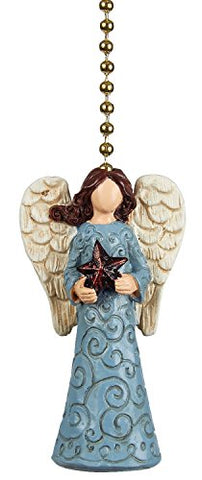Clementine Designs Tranquil Blue Angel with Star Ceiling Fan Light Dimensional Pull