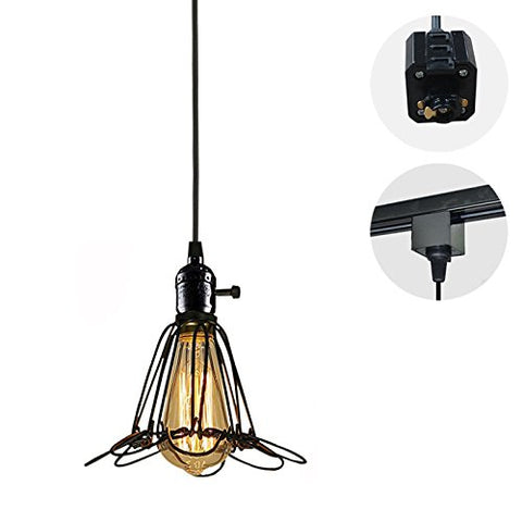 Stglighting 1-Light H-Type Track Light Pendants 4.9 Feet Cord Iron Birdcage Lampshade Restaurant Chandelier Decorative Chandelier Industrial Factory Pendant Lamp Bulb Not Included - llightsdaddy - Stglighting - Lights