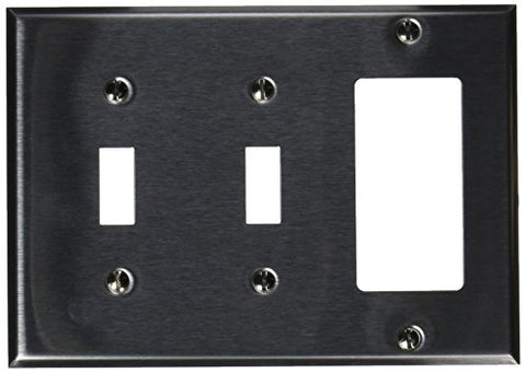 Morris 83580 430 Wall Plate, 3 Gang, 2 Toggle, 1 GFCI, Stainless Steel - llightsdaddy - Morris - Wall Plates