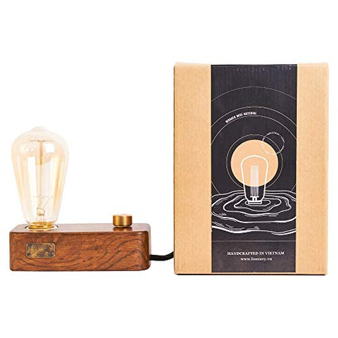 Wooden Industrial Table Lamp - Vintage Minimal Style - Free Bulb Included