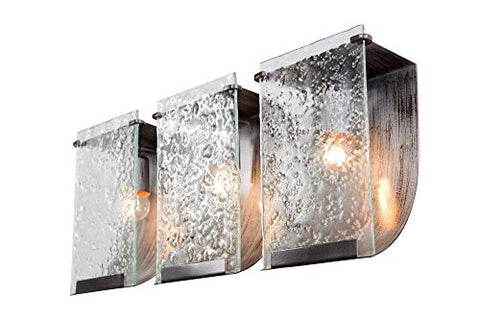 varaluz 160b03 rain 3-light vanity - rainy night finish with rain recycled glass