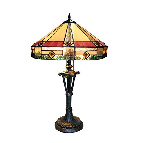 "Chloe CH18143AM18-TL2 Ridley Tiffany-Style Mission Table Lamp with 18"" Shade, 26.5 x 18 x 18, Multicolor"