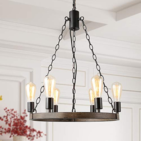 LALUZ 6-Light Farmhouse Wagon Wheel Chandelier for Living Room, Faux Wood Kitchen Island Lighting for Dining Room - llightsdaddy - LALUZ - Island Lights