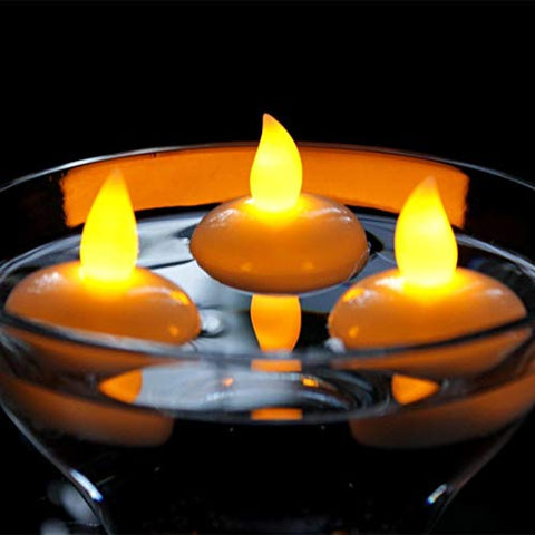Flameless Floating LED Tealight Candle, Waterproof Flameless Floating Tealights,Battery Operated Yellow Flickering LED Candle for Halloween,Christmas,Wedding,Pool & SPA Decor - llightsdaddy - FASTIC - Flameless Candles