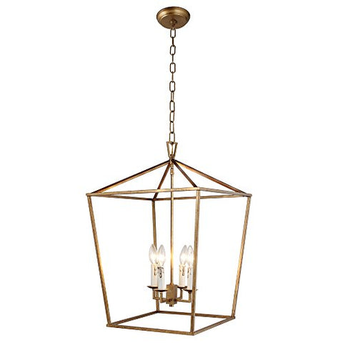 Openwork Lantern Pendant Stairway Entry Kitchen Hall Foyer Fixture Chandelier (Gold)