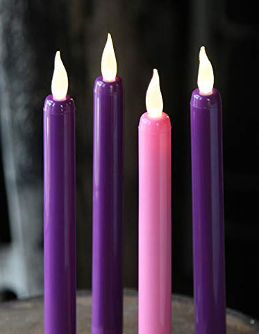 Flameless Advent Candle Set 4-Piece LED Advent Taper Candles Purple and Pink - Soft White Flickering Flame - llightsdaddy - True Flicker - Flameless Candles