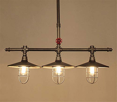 Industrial Retro Vintage Style Island Light, NIUYAO Farmhouse Industry Steam Punk Water Pipe Rustic Saucer Pendant Lighting for Dining Room, Kitchen Island, Cafe Bar 511166 - llightsdaddy - NIUYAO - Island Lights